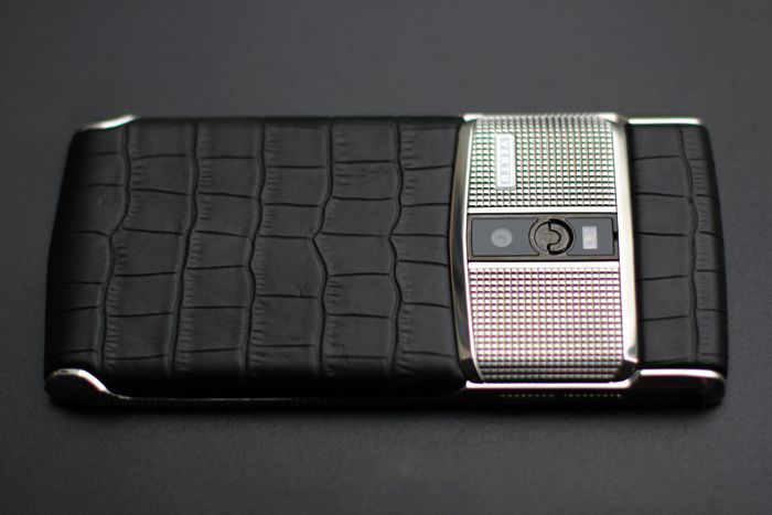 vertu signature touch Clous De Paris alligator silver fake